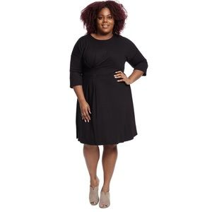 Eloquii Asymmetrical Pleated Dress In Black